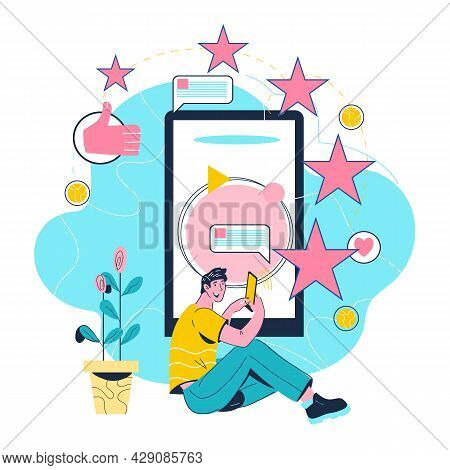 Customer Reviews And Online Feedback, Five Star Rating Concept With Man Leaving Reviews About Buying