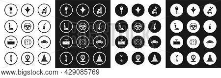Set Car Service, Steering Wheel, Seat, Engine Piston, Muffler, Funnel Or Filter And Motor Oil Drop,