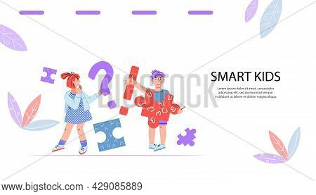 Smart Clever Kids Website Banner Template With Cute Children Characters, Flat Vector Illustration. C