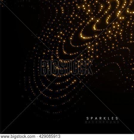 Golden Sparkles Flowing Glitter Wavy Lines Background Design Vector Illustration