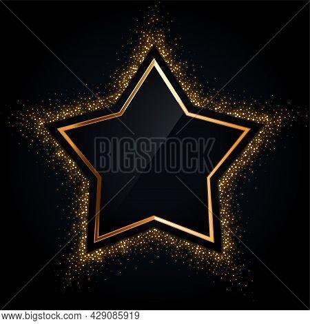 Golden Star Frame With Golden Glitter Design Vector Illustration