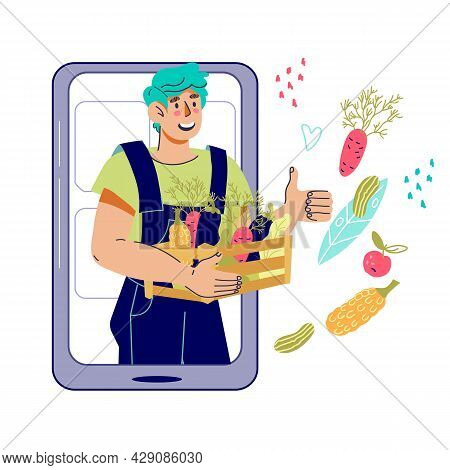 Farmer Production And Vegetarian Food Ordering And Delivery With Farmer Holding Box With Fresh Organ