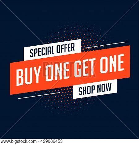 Buy One Get One Sale Banner Design Vector Illustration