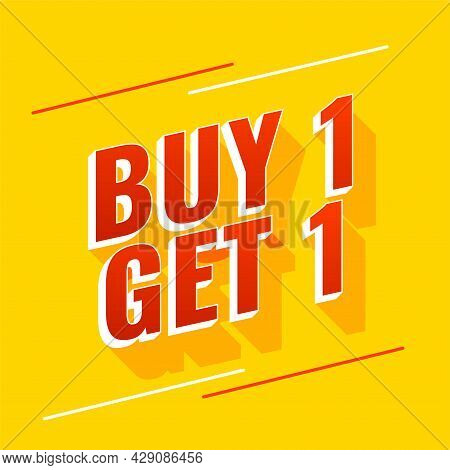 Buy One Get One Yellow Banner Design Vector Illustration