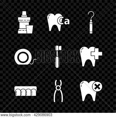 Set Mouthwash Plastic Bottle, Calcium For Tooth, Dental Explorer Scaler Teeth, Dentures Model, Plier