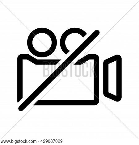 Video Camera Outline Icon. Film Camera Off, Round Symbol. Forbidden Record. Internet Button For Webi