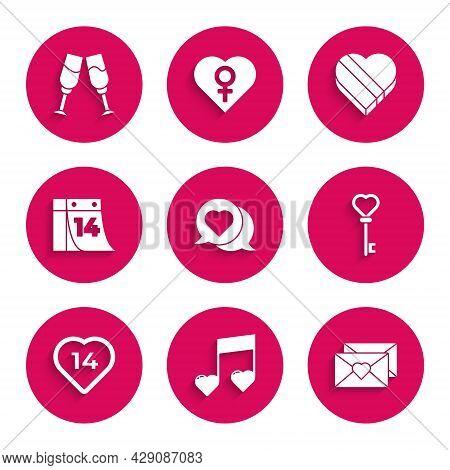 Set Heart In Speech Bubble, Music Note, Tone With Hearts, Envelope Valentine, Key Shape, Calendar Fe