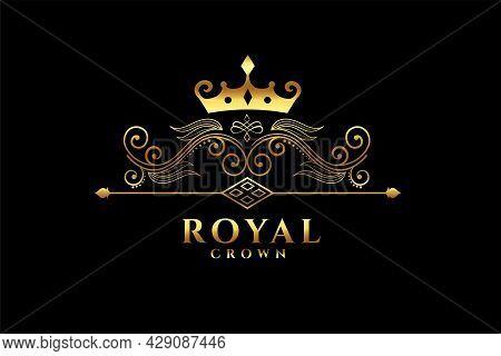 Royal Crown Logo Concept Design Vector Illustration