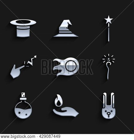 Set Fireball, Hand Holding Fire, Rabbit With Ears, Magic Staff, Bottle Love Potion, Spell, Wand And