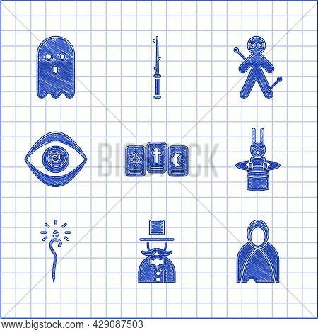 Set Three Tarot Cards, Magician, Mantle, Cloak, Cape, Hat And Rabbit, Staff, Hypnosis, Voodoo Doll A