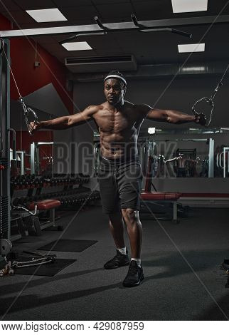Handsome Muscular Athletic African American Man Exercising Doing Pectoral Muscle Exercise Training C