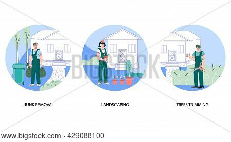Gardening Services Banners Set Including Trees Trimming, Landscaping And Junk Removal. Professional
