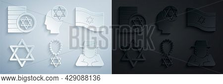Set Star Of David Necklace On Chain, Flag Israel, Orthodox Jewish Hat, And Jewish Coin Icon. Vector