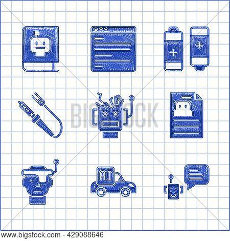 Set Broken Robot, Autonomous Smart Car, Bot, Technical Specification, Smart Glasses, Soldering Iron,