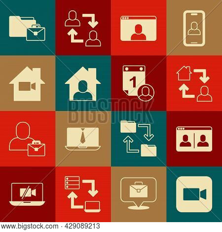 Set Camera, Video Chat Conference, Online Working, Camera Off Home, And Time Management Icon. Vector