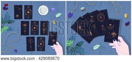 A Set Of Illustrations Of The Layout On The Tarot Cards Cards Of The Self-reflection Session Informa