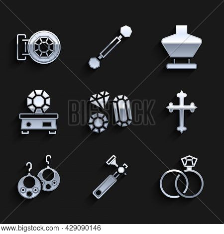 Set Gem Stone, Jewelers Lupe, Wedding Rings, Christian Cross, Earrings, Necklace Mannequin And Jewel