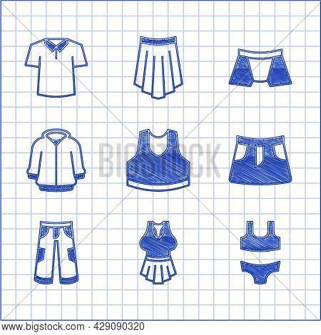 Set Undershirt, Swimsuit, Skirt, Pants, Hoodie, Men Underpants And Shirt Icon. Vector