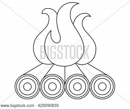 Bonfire. Camping Campfire - Vector Linear Illustration For Logo Or Coloring. Outline. Firewood Is Bu
