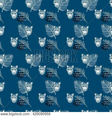 Seamless Tropical Pattern With Tiger And Exotic Leaves Silhouettes On Navy Blue Background. Monochro