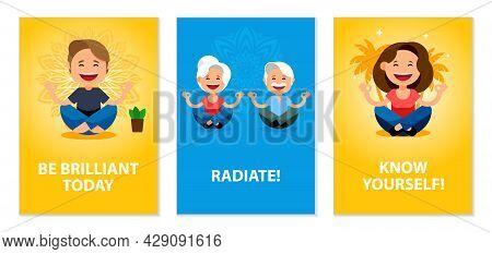 Mindfulness, Meditation, Balance Posters Set. Cartoon People Meditates In The Lotus Pose. Smiling Wo