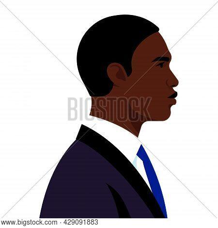 Young Black Businessman, Black Man In Black Business Suit. Portrait Of Entrepreneur, Office Worker,