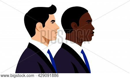 Two Businessmen. Men In Black Business Suits. Portraits Of Entrepreneur, Office Worker, Specialist.