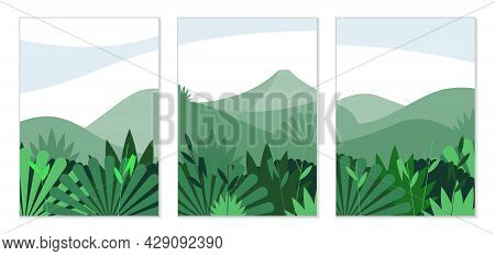 Nature And Landscapes. Set Of Creative Posters For Design. Abstract Illustrations Of Thicket, Bushes