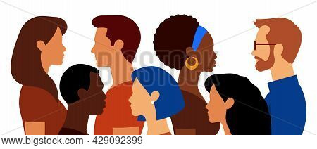 Group Of People. Multi-ethnic Crowd. Handsome Men And Beautiful Women. Abstract Portraits, Side View