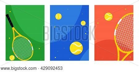 Tennis. Social Networks Backgrounds Set. Three Different Illustrations With Tennis Rackets, Balls. S
