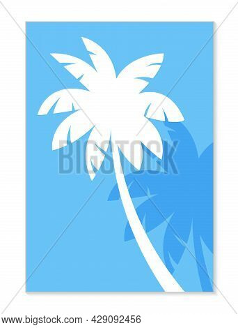 Seascape And Nature. Abstract Illustrations Of The Sea, Blue Sky, Palm Trees. Illustration For Poste
