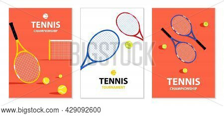 Tennis Tournament Posters. Tennis Rackets And Ball. Sports Equipment. Illustration For Sports Compet