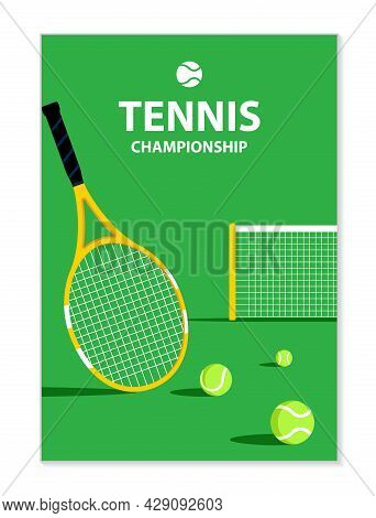 Tennis Tournament Poster. Tennis Racket On Court. Sport Equipment. Illustration For Competition, Law
