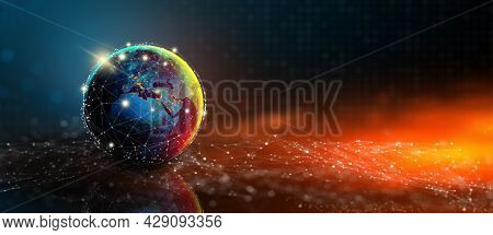 Future Of Global Social Network Technology With Blue Abstract Technology Background. Digital, Techno