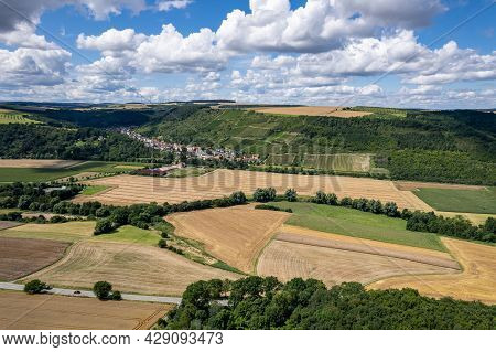 Aerial View Of A Landscape In Rhineland-palatinate, Germany On The River Glan With The Village Of Ra