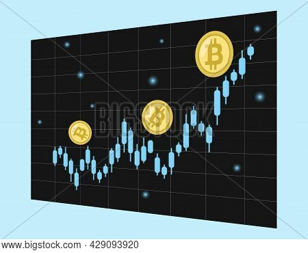 Bitcoin Increases. Crypto Currency Chart Goes Up. Cryptocurrency Graph Of Coin Price Is Growing. Vec