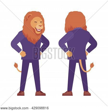 Male Lion, Large Wild Animal Head And Tail Human Standing. Strong Dangerous Business Person With Gre