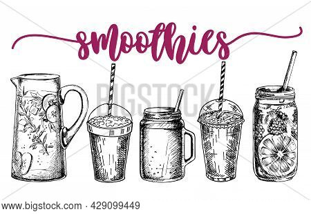 Smoothies Or Detox Cocktail Poster In Sketch Style. Set Of Hand Drawn Ingredients For A Cocktail Or
