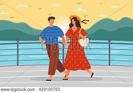 Romantic Date Concept. Boyfriend And Girlfriend Relaxing Together On Embankment. Couple In Love Hold