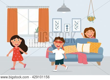 Little Kids Playing Hide And Seek In Living Room. Boy With His Eyes Closed Looking For Girls In Room