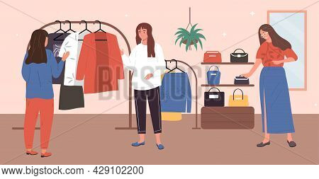 Buying Clothes Concept. Women In Store Choose Clothes And Accessories. Shopping In Shopping Center I