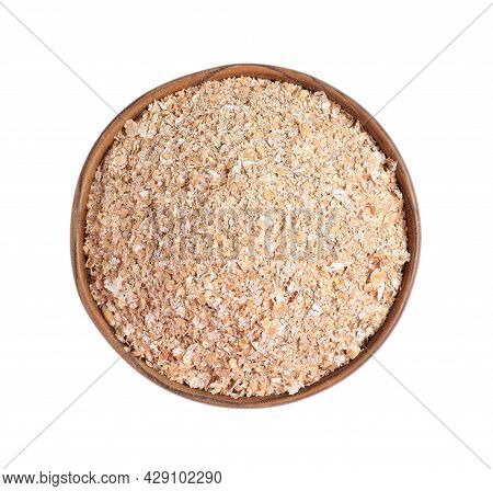 Wheat Bran In Bowl On White Background, Top View