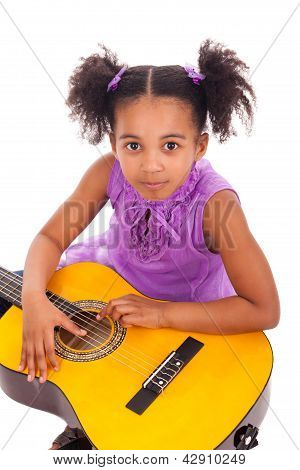 Young Girl With Guitar On White Background