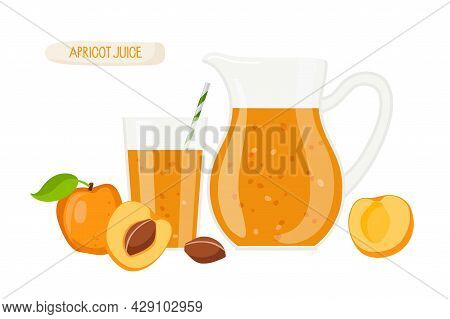 Apricot Juice. Jug And Glass Of Fresh Orange Drink, Fresh Apricot Fruits Whole And Halves On White B