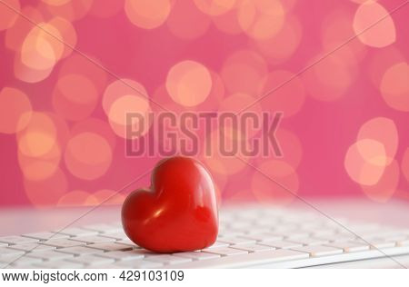 Red Decorative Heart On Computer Keyboard. Online Dating
