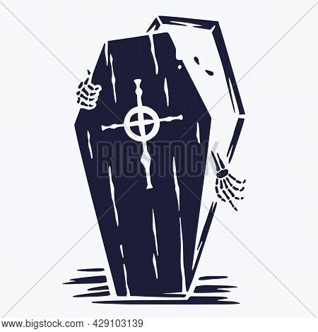 Halloween Coffin Of Skeleton Or Vampire. Halloween Undead And Walking Dead. Fear, Horror And Spooky