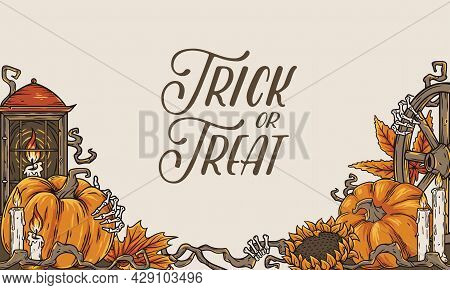 Trick Or Treat Background For Celebration Halloween Party. Spooky Autumn Flyer With Pampkin, Skeleto