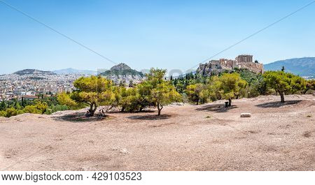 View Of The Athens Skyline From The Pnyx, The Historic Hill In The Capital Of Greece. The Acropolis