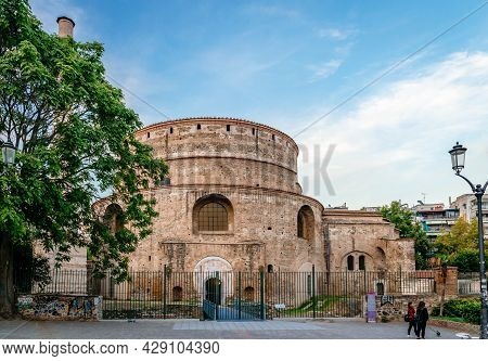 Thessaloniki, Greece - October 7 2017: View Of The Rotunda (with A Post Added Minaret), An Early 4th