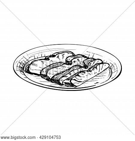 Char Siu On Plate. Vintage Vector Hatching Black Hand Drawn Illustration Isolated On White Backgroun